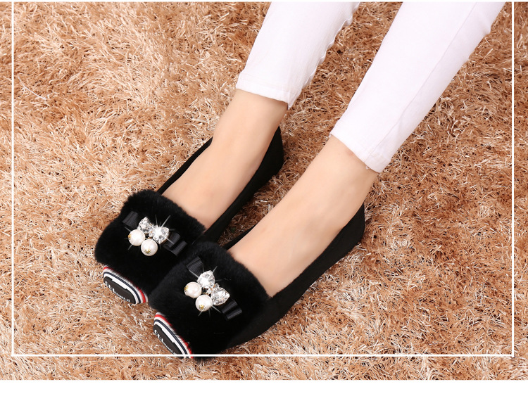 New suede shoes Doug hair Maomao shoes woman cotton flats shoes hot selling  Rhinestone ballet flats for woman top quality flats-in Women s Flats from  Shoes ... 7d22665d16eb