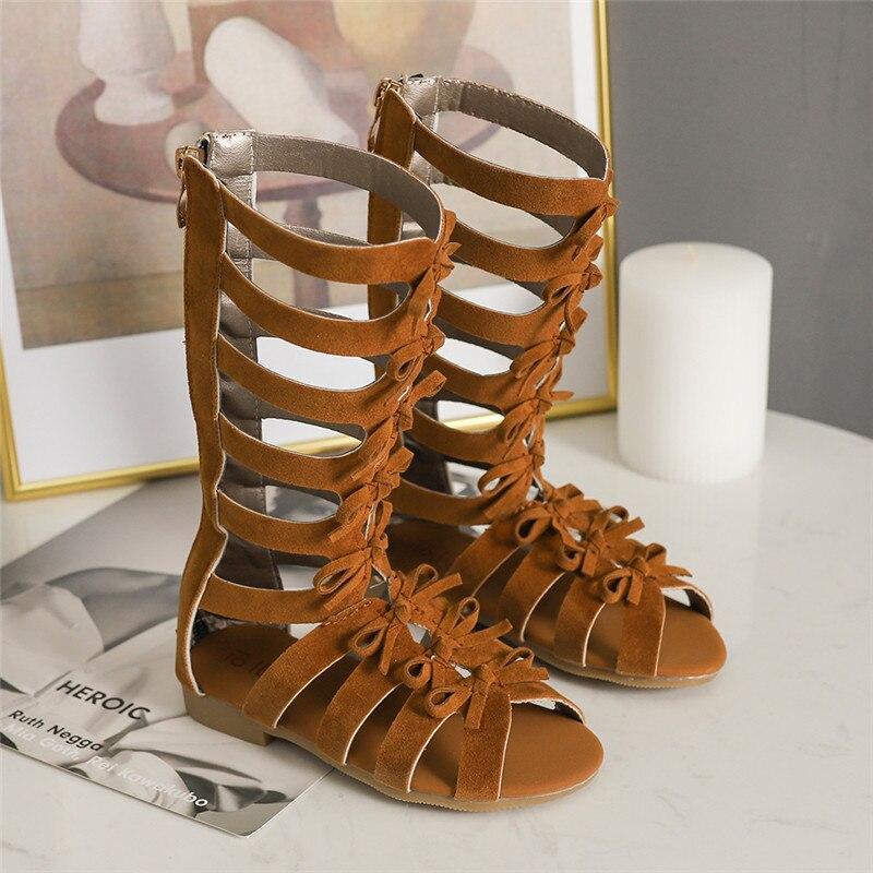 Bekamillle Girls Sandals Summer Kids Shoes Fashion Bow Rome High Tube Sandals Kids Girls Princess Zip Flat With Shoes SZ038