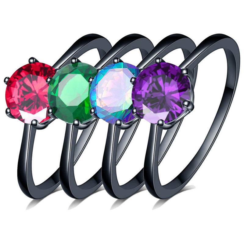 Charm Female Blue Fire Opal Heart Ring Elegant Purple Ring Black Gold Filled Jewelry Vintage Wedding Rings For Women 网 红 小 姐姐