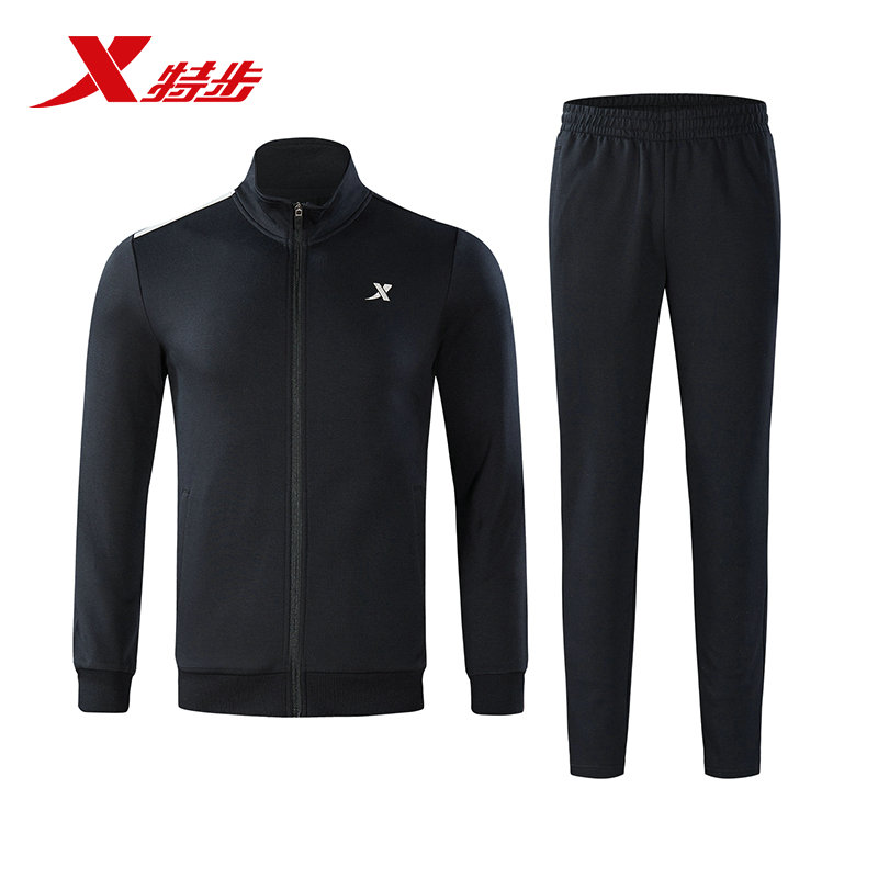 882329969084 Xtep Men sport running suit knitting black and pant suit breathable sport running suit for men