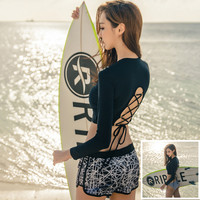 2017 Long Sleeve Women Swimwear 3 Pieces Sexy Bandage Swimsuit Black Padded Bra Boxer Underwear Bathing
