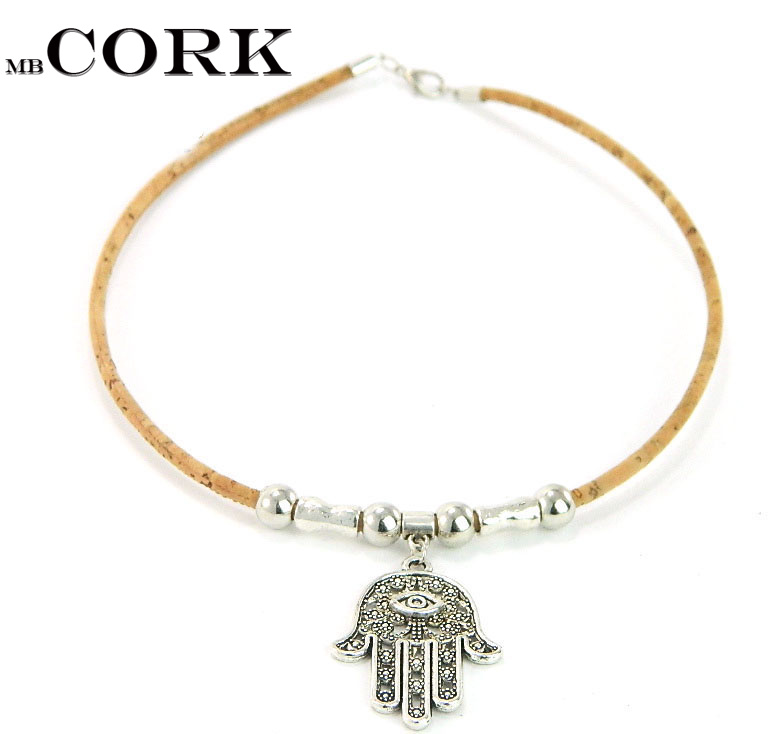 MB Cork Fatima necklace  Portuguese cork fatima hand, Eye of God, wisdom hand, fashion, 2016 new, religion  , original, handmade Ожерелье
