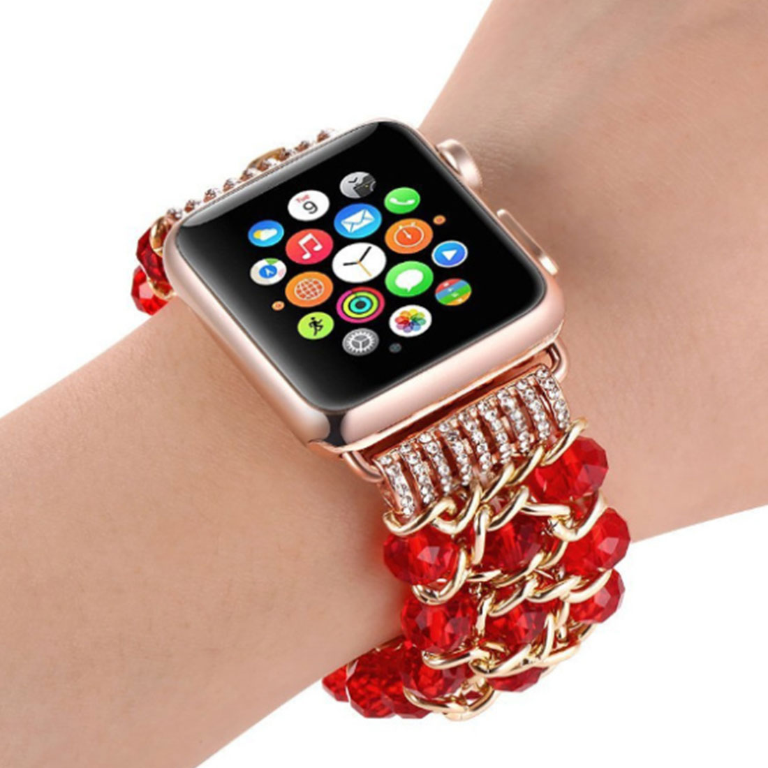 New Woman Jewelry Strap band for Apple Watch Hot 38mm 42mm Luminous Pearl Bracelet for iWatch Series 4 3 2 1 Wristband in Watchbands from Watches