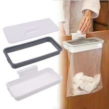 Cupboard Door Storage Racks Plastic White Square Garbage Bag Holder Hanging Home Kitchen Trash Rack Drawer