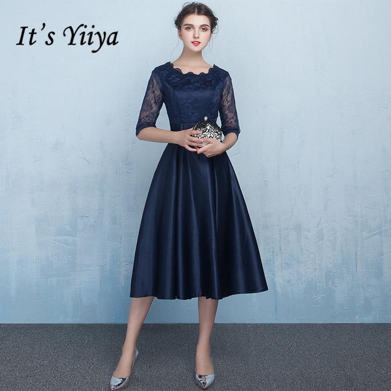 Weddings & Events Es Der Yiiya Mode Halbe Hülse Kleider Vintage Spitze Hohe Qualität Reich Kleid Lx389 Kaufe Jetzt