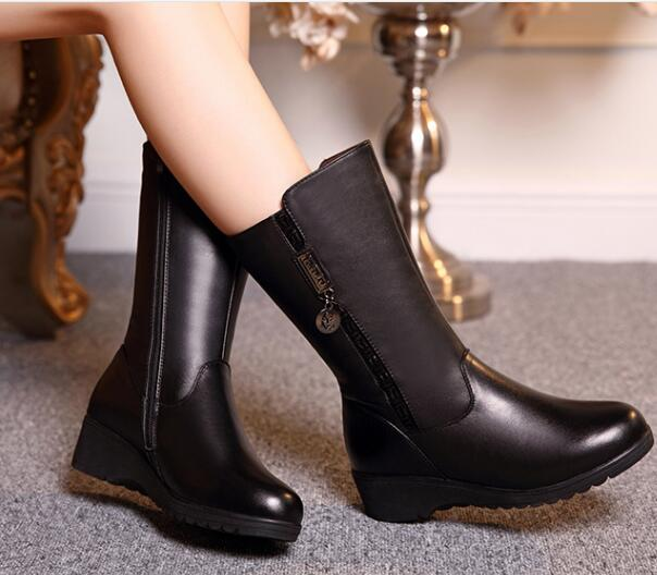 ФОТО Woman boots large size 35-43 # 2016 Winter Women genuine leather boots, thick fleece warm winter boots,flat  boots Martin