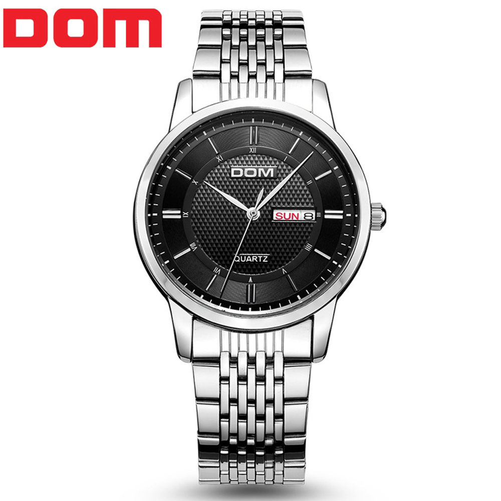 Top brand luxury DOM Quartz Watches Men Waterproof watch Stainless steel Date Business Casual Military Sport Relogio Masculino 2016 men stainless steel watches top brand luxury loreo stainless steel waterproof men s watches business quartz watch ab2053