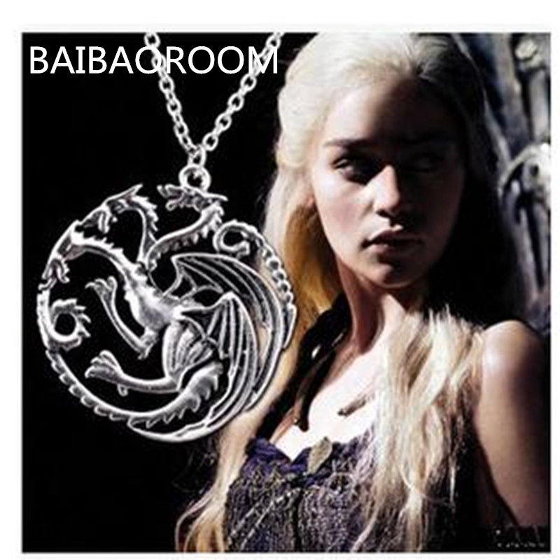 Valentine's Day Gift The Song Of Ice And Fire Game Of Thrones Daenerys Targaryen Dragon Badge 56cm Chain Necklace(China)