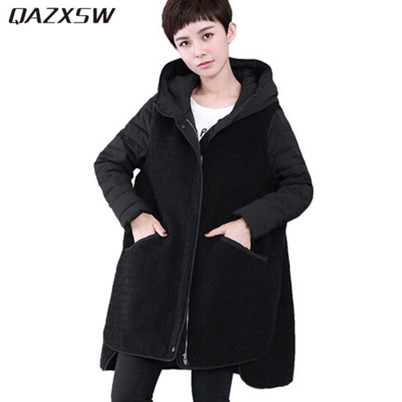 QAZXSW 2017 New Winter Cotton Jacket Womens Loose Cotton Coat Parkas Girls Hooded Lamb Thick Warm Outwear Winter Jacket HB301 qazxsw 2017 new winter cotton coat women long parkas thick velvet double breasted lamb winter jacket women suede jackets hb321