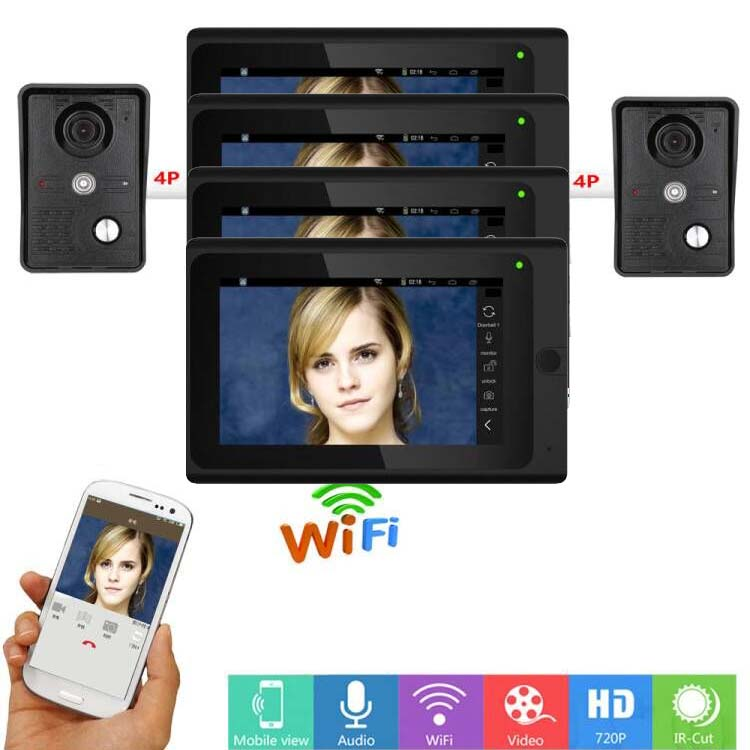 MOUNTAINONE Wired/Wireless WIFI 7 Video Door Phone for 2 Doors,Home Intercom System w/t IR-CUT Taking photo/video function 2V4