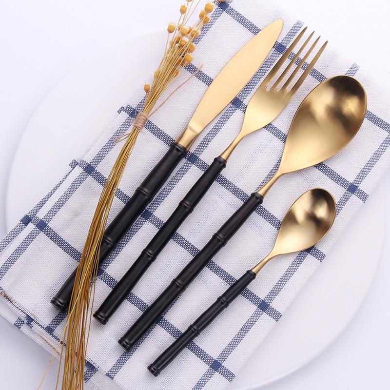 24 個ゴールドマットステンレス鋼ヴィンテージ食器食器 18/10 ディナーナイフフォークスプーンクリエイティブ竹ハンドルカトラリーセット  グループ上の ホーム&ガーデン からの 食器セット の中 1