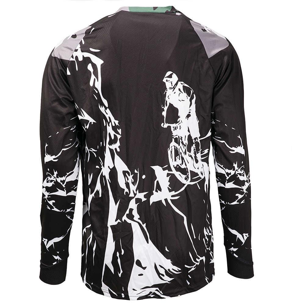 2019 ขี่จักรยานจักรยานเสือภูเขา Mountain Bike Motocross Jersey แขนยาว BMX DH MTB เสื้อยืด Downhill เสื้อกีฬาสีดำสีขาว