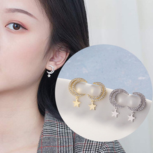 New Arrival Korean Gold Silver Color Moon Star Earrings Women Classic Cubic Zirconia Star Stud Earrings Fashion Jewelry fashion new arrival crystal star stud earrings for women girls cz zircon silver color five pointed star earrings party jewelry
