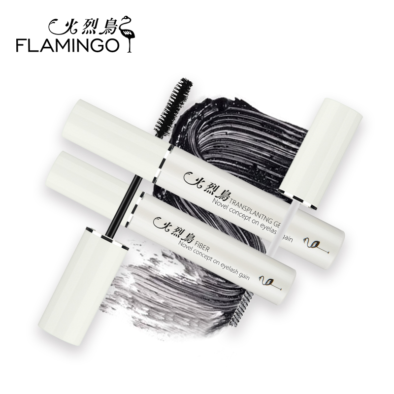 FLAMINGO Black Combination Mascara 2 pieces Lengthening Fiber Grafting Extend Mascara Set 6135