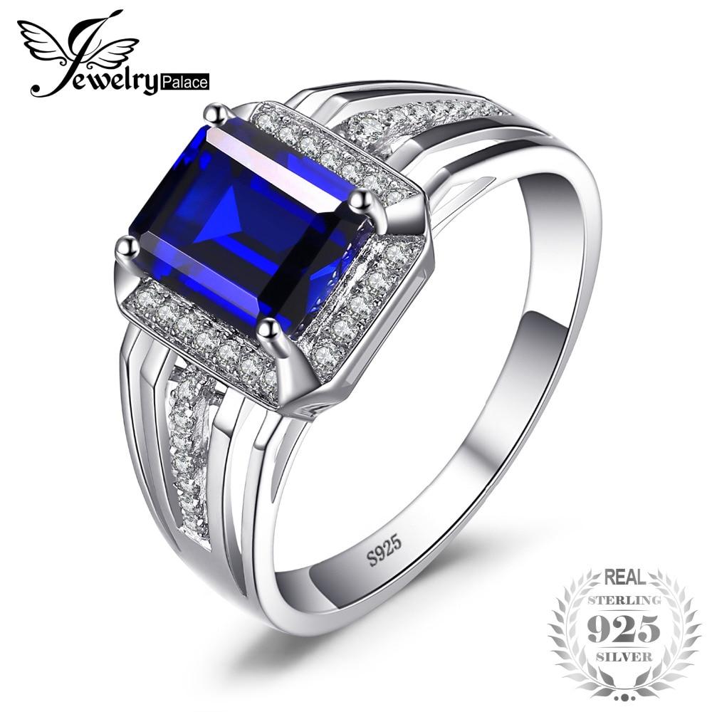 Jewelrypalace De Luxe 4.6ct Créé Bleu Saphir De Mariage et Bague de Fiançailles Pour Hommes Véritable 925 Sterling Sliver 2018 Nouveau