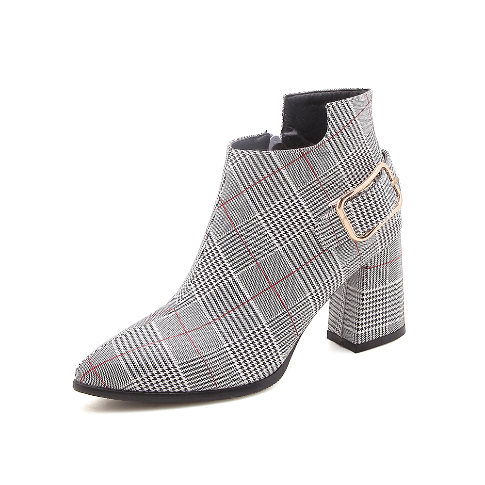 Women's Boots, Fashion Plaid Pointed Toe High Heels, Winter Ankle Boots 15