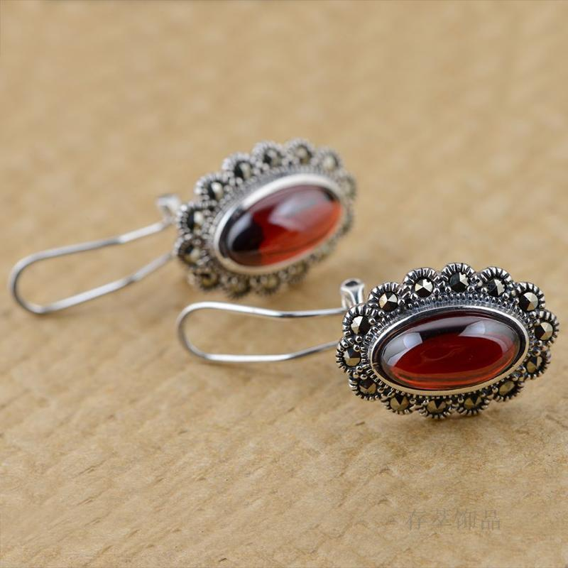 Argent Thai argent incrusté rouge Zircon boucles d'oreilles oreille clip rétro antique femme tempérament all-match elliptique section - 3