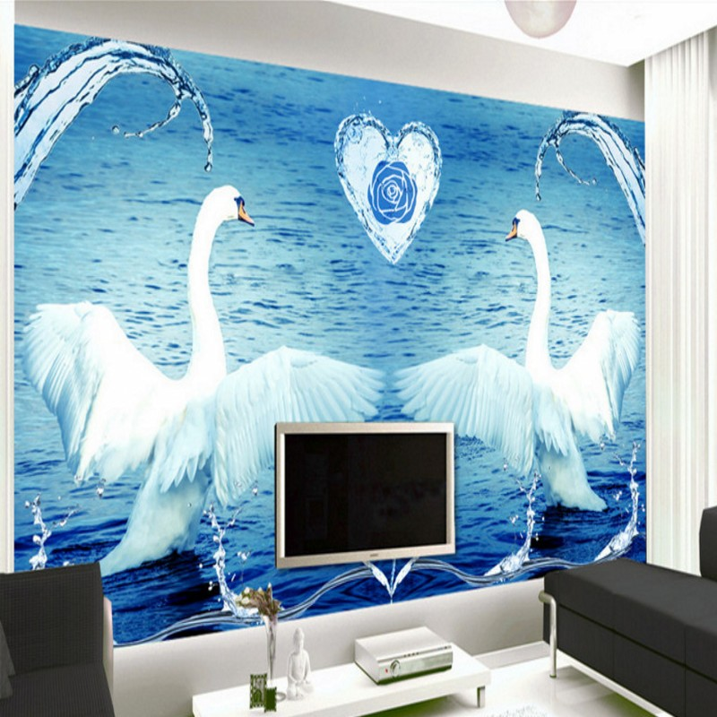 Free Shipping Swan Lake blue 3D stereo background wall bedroom living room mural 3D high quality office wallpaper  free shipping basketball function restaurant background wall waterproof high quality stereo bedroom living room mural wallpaper