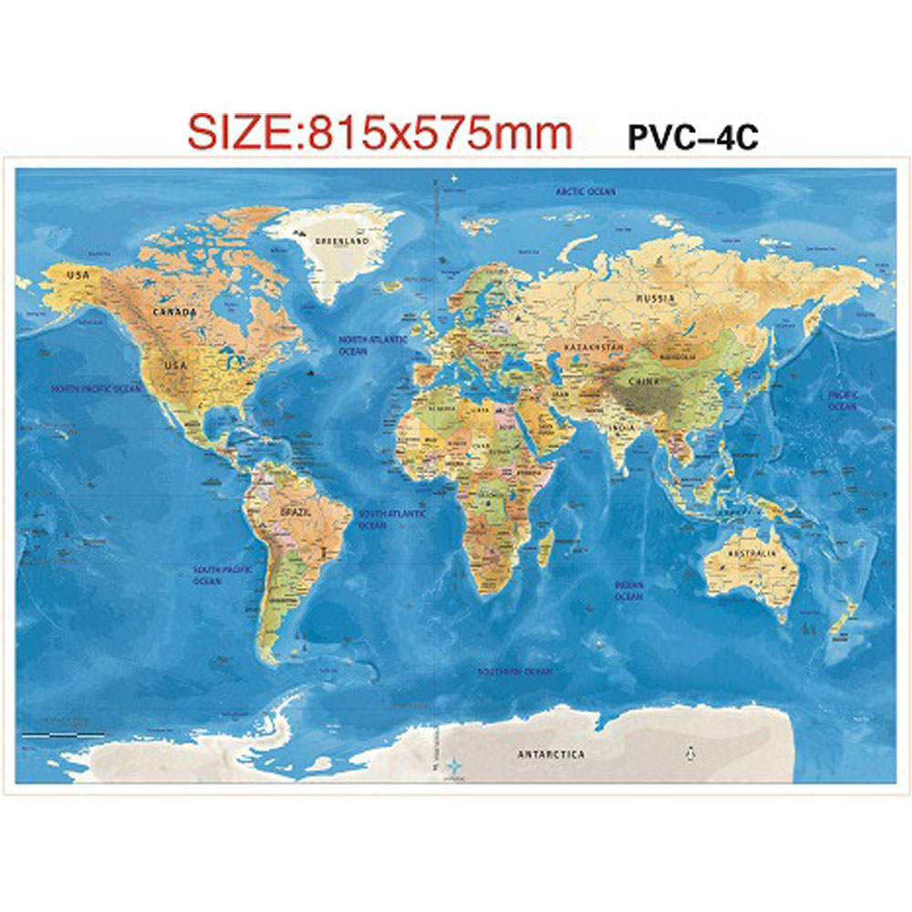 2PCS 59.4 X 82.5cm Scratch Off World Map Ocean Edition Travelers Explorers Office Supplies Social Studies Materials Poster Gifts