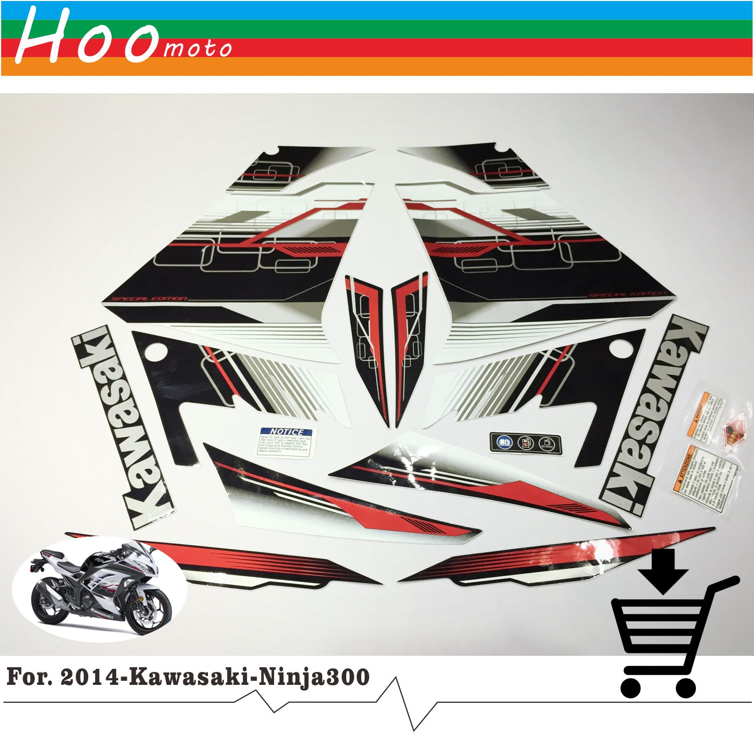 Ninja 300 Full Decals Stickers Graphics Kit Set Motorcycle Whole Vehicle 3M Decals Stickers for Kawasaki EX 2013 R Green Fairing hot sales 2007 2008 cbr600 fairing for honda cbr600rr f5 cbr 600 cbr 600rr 07 08 cbr 600 repsol fairing kit injection molding