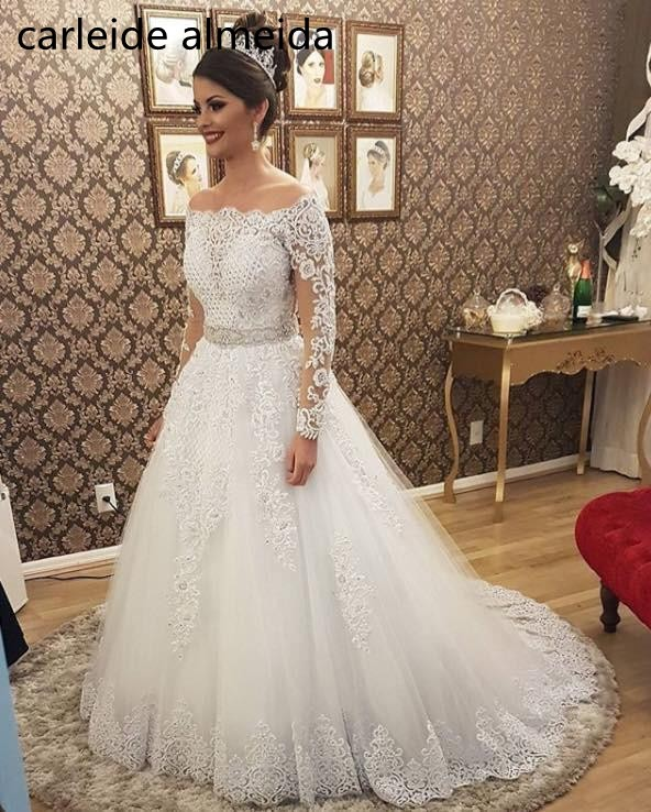 Vestido de noiva Boat Neck Long Sleeves 2 in 1 Wedding Dress Heavy Pearls Luxury Bride Dress Robe de mariee 2019 Abiti da sposa