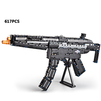 Cool modern military H&K MP5 Rubberband Submachine gun building block model bricks assemblage toys collection for boys gifts