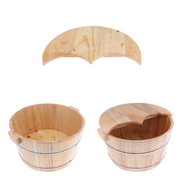 2Pieces Natural Wood Wooden Foot Spa Bath Basin Tub Feet Soaking Wash Bucket with Lids