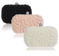 Hot Sale Women Pearl Handbag Hand Beaded Diamond Clutch Purse Long Short Chain Tote Evening Bag