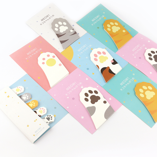 Cat Paw Sticky Memo Pads 6 pcs Set