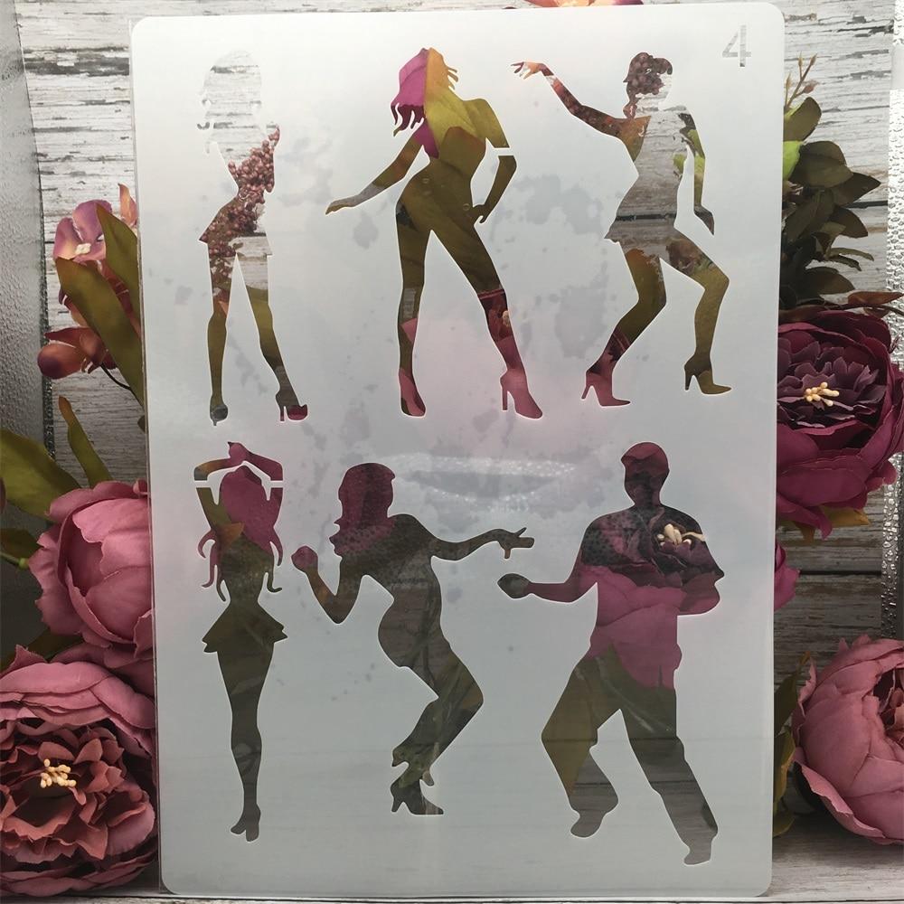 A4 29cm Lady Girl Dancing DIY Layering Stencils Painting Scrapbook Coloring Embossing Album Decorative Paper Card Template