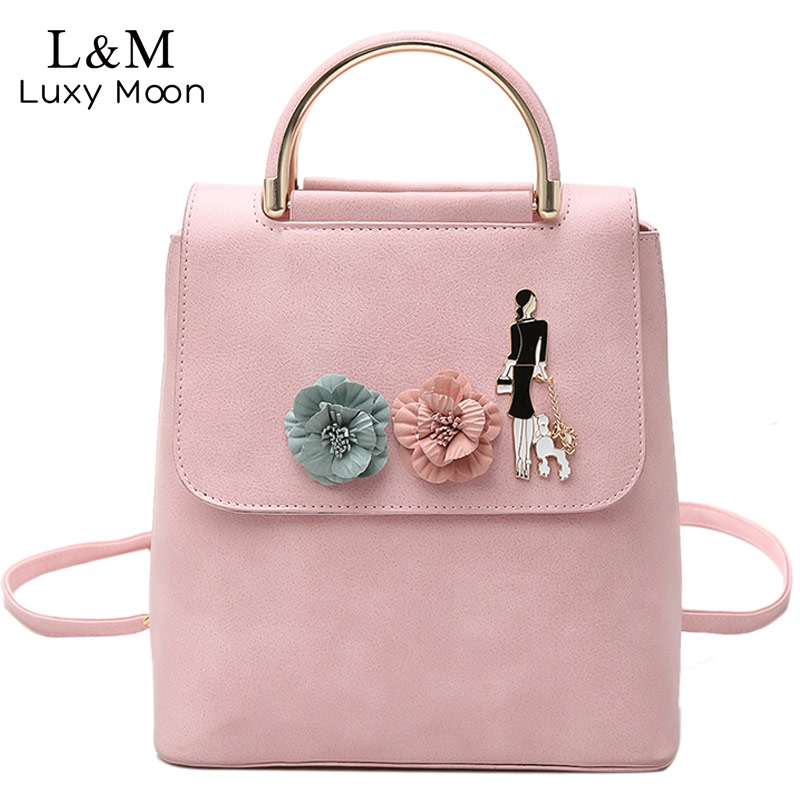 LUXY MOON Women Backpack Floral Summer Backpacks Pink PU Leather Bag Teenage Girls School Bags Fashion Solid Mochila New XA1065H vic firth nova n5bn