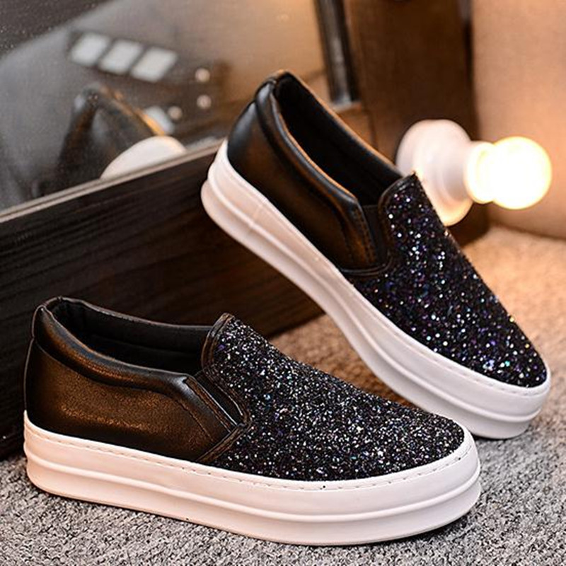 Europe Latest styles Female thick bottom sequins Shoes Purple black gold casual Loafers Flats obuv ayakkab