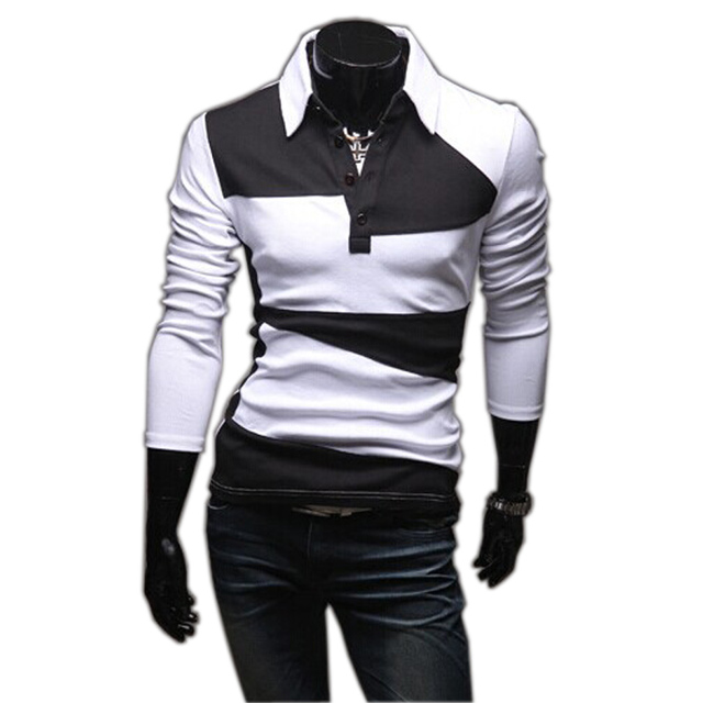 Free ship man autumn spring 2016 new fashion England double-color long sleeve fitness casual t shirt camiseta tops & tee t-shirt