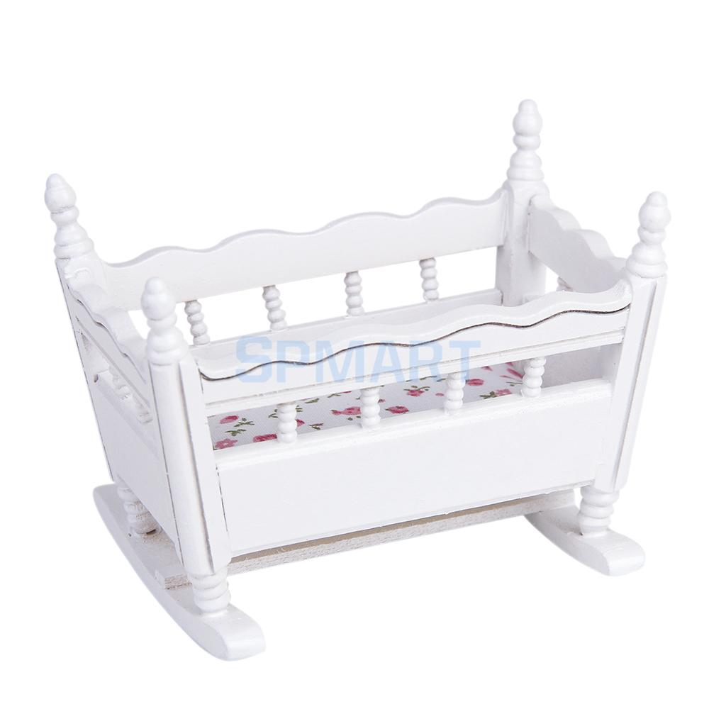 1 12 Dolls House Miniature White Wooden Nursery Cradle