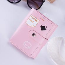 Ladies student wallet short version magnetic buckle 3 fold fashion card pack coin purse female small hot sale