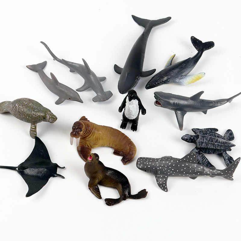 Oenux Mini Marinho Oceano Tubarão Modelo Clássico Da Vida Do Mar Baleia Animais Tartaruga Figuras de Ação PVC Adorável Brinquedo Educativo Para As Crianças presente
