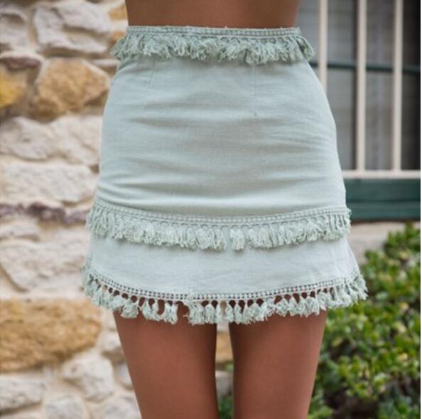 sexy pure color dashing lace splicing tassel splicing mini skirt summer female casual high waist beach patry bodycon short skirt