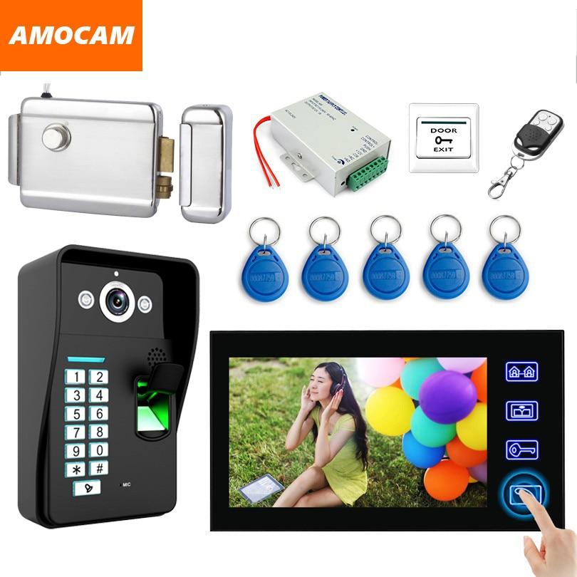7 Touch Monitor Video Doorbell Kits Fingerprint /RFID Keyfobs /password /Electronic Door Lock/ Video Door Phone Intercom System 7 video door phone doorbell intercom system touch panel door lock rfid keyfobs 1v3