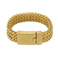Weaving Chain Bracelet for Men Stainless Steel Silver/Gold Color Hip Hop Bracelet Braid Link Chain Bracelet Punk Male Jewelry