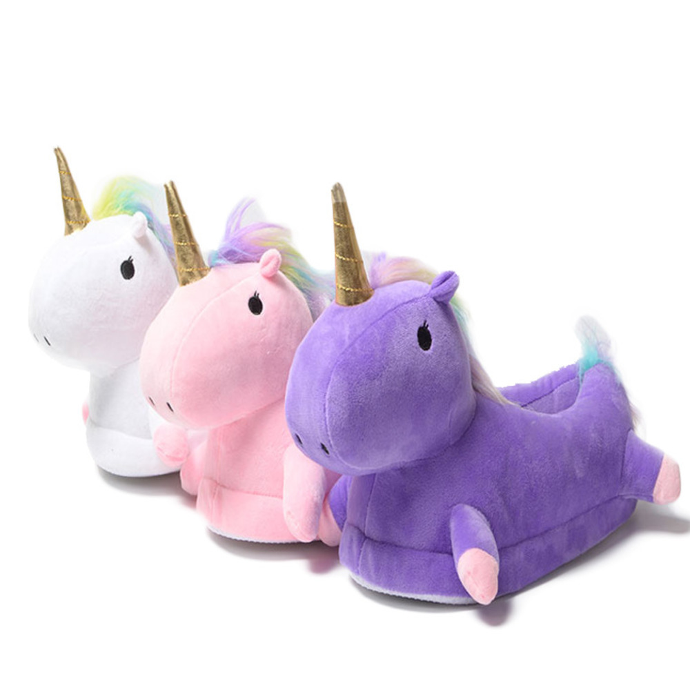 Slipper Unicorn Women Winter Keep Warm Cotton Three-dimensional Modeling Small Male Horse Plush Home Furnishing Slipper Female lovely animal unicom little twin stars gemini unicorn cartoon home furnishing slipper indoor mute ma am slipper kawai toy gift