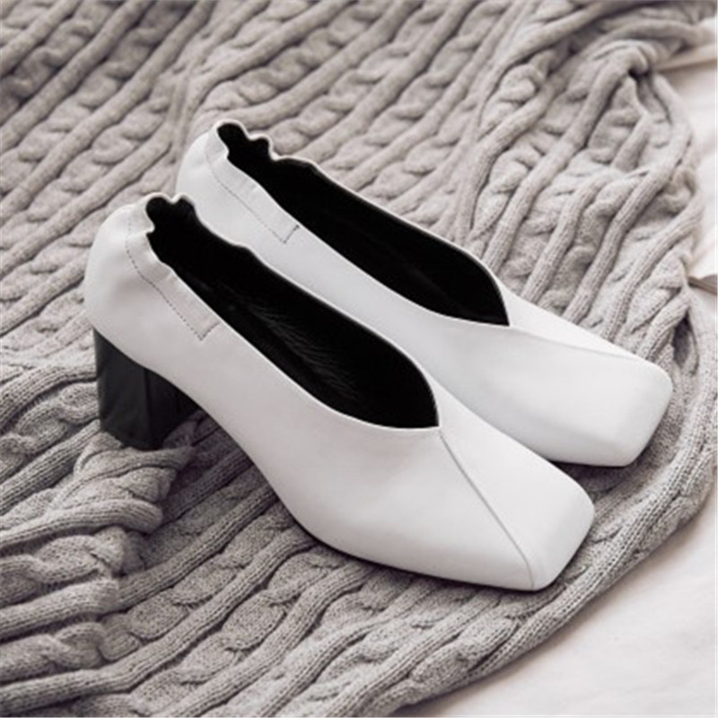 Plus Size 34-43 Spring Square Toe women shoes Genuine Leather Retro Party Office & Career shoes Pumps high heels oxford shoes egonery spring air slip on round toe square low heels office women shoes pumps woman shoe plus size 40 43