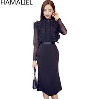 HAMALIEL Newest Autumn Women Party Dress 2018 Runway Black Lace Patchwork Mesh Long Sleeve Stand Collar