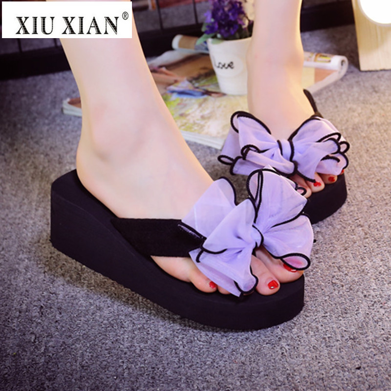 Candy Color Bow Knot Women Slippers Thick High Heel Wedges Breathable Flip Flops 2018 New Summer Fashion Lady Home Floor Slipper halluci breathable sweet cotton candy color home slippers women shoes princess pink slides flip flops mules bedroom slippers