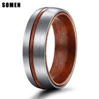 8 мм Серебряное Винтажное кольцо с деревянным желобком и деревянным внутренним дизайном титановое кольцо для мужчин обручальные кольца пар...