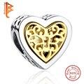 Marca de lujo 100% 925 Corazón de Plata Esterlina Granos de Los Encantos Fit Pandora Original Pulsera Collar Colgante Auténtico Jewelry Making