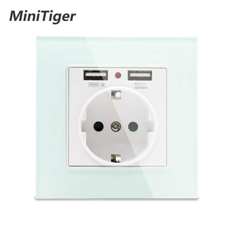 Minitiger 그린 핑크 화려한 크리스탈 유리 패널 듀얼 USB 충전 포트 2.1A 16A 러시아 스페인 벽 소켓 EU 전원 콘센트