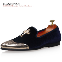 Neue Männer Schuhe Hohe Qualität Samt Metall Schuhe Zehe Hausschuhe Loafer Herren Luxus Handgefertigte Metall Kreuz Kleid Schuh Party Fashion flache