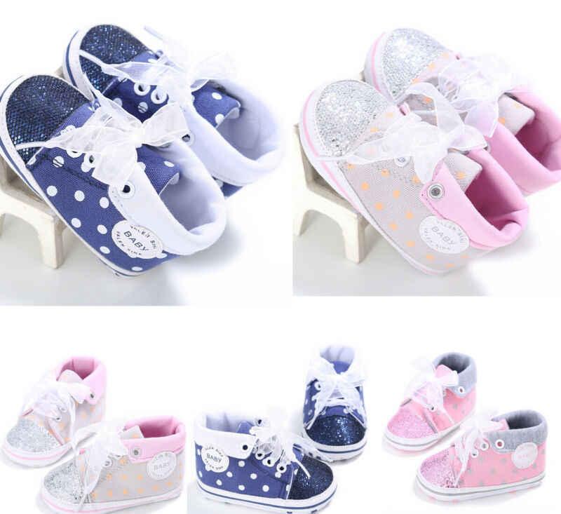 Meninas da forma Do Bebê Sapatos Sneakers Princesa Bowknot sapatos de Sola Macia Do Bebê Recém-nascido Lantejoula Prewalker Criança Suave Anti-slip Lona Shose