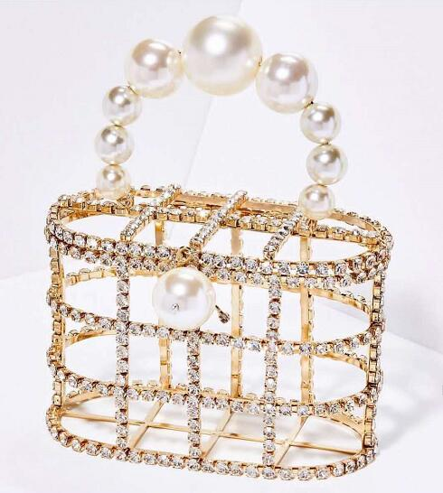 Luxe strass encadrée sacs à main élégance perle poignée dames mode panier sacs à la main femme élégant dîner partie sacs à main