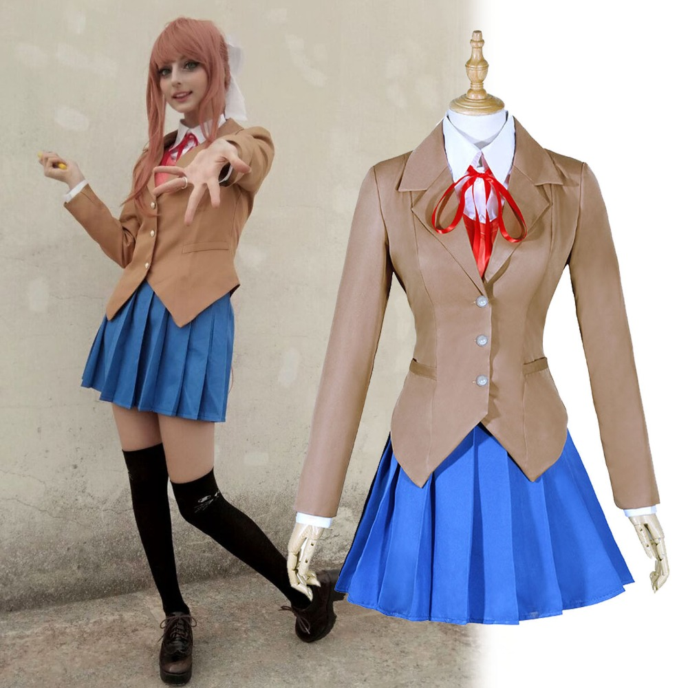 Doki Doki Literature Club Sayori Yuri Natsuki Monika Outfit School girl eritic Uniform Dress Cosplay Costume Full Set